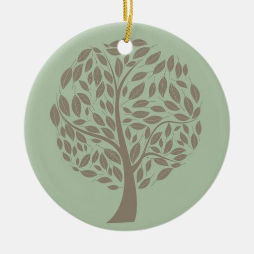 Verde salvia y árbol estilizado suave de Brown Eco Adorno