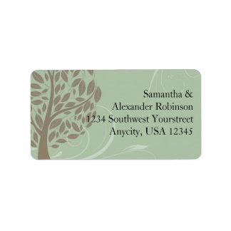 Verde salvia y árbol estilizado suave de Brown Eco Etiqueta De Dirección