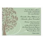 Verde salvia y árbol estilizado suave de Brown Eco Invitación 12,7 X 17,8 Cm