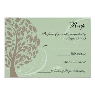 Verde salvia y árbol estilizado suave RSVP de Anuncio Personalizado