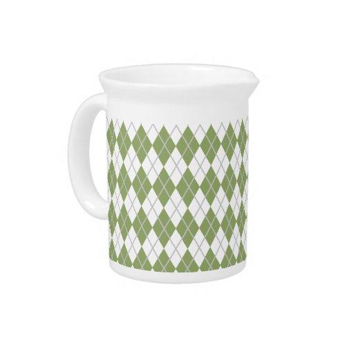 Verde salvia y blanco Argyle Jarras Para Bebida
