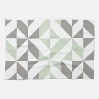 Verde salvia y modelo geométrico del cubo de Deco Toallas
