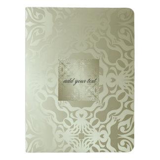 verde, seda, plata, damasco, floral, modelo, moda, funda para libreta y libreta extra grande moleskin