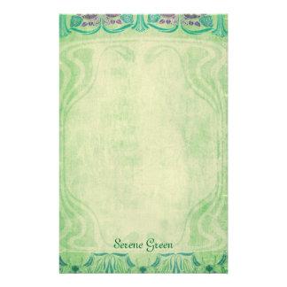 Verde sereno - efectos de escritorio de Nouveau de Papelería