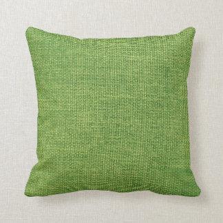 Verde simple de la arpillera cojín