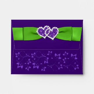 Verde, sobre floral púrpura de los corazones A2 pa