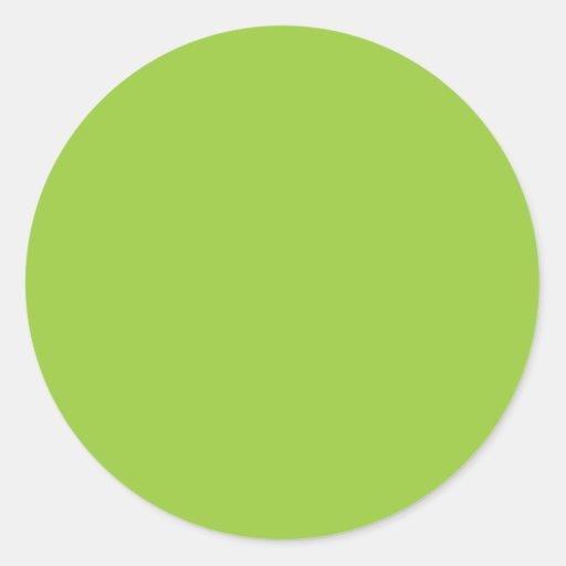 Verde sólido del kiwi del fondo 99CC33 Pegatina Redonda