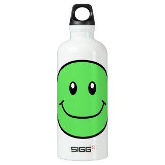 Verde sonriente 0001 de la cara botella de agua