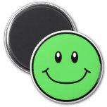 Verde sonriente 0001 del imán de la cara