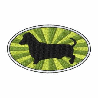Verde-Starburst oval del Dachshund Polo Bordado