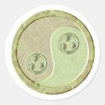 Verde suave Yin Yang del Celadon Pegatinas Redondas