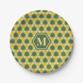 Verde superior del árbol/placa de papel del plato de papel de 7 pulgadas