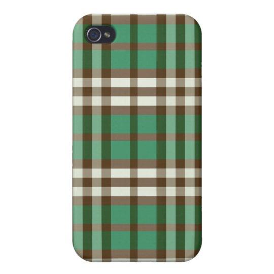 Verde/tela escocesa Pern del chocolate iPhone 4 Fundas
