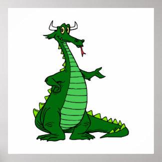 Verde tonto del dragón poster