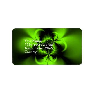 Verde torcido etiqueta de dirección