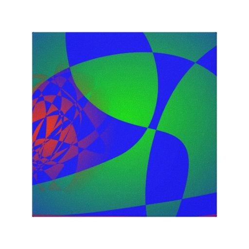 Verde translúcido en fondo azul impresión de lienzo