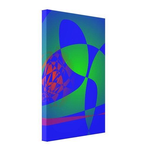 Verde translúcido en fondo azul impresión en lienzo estirada