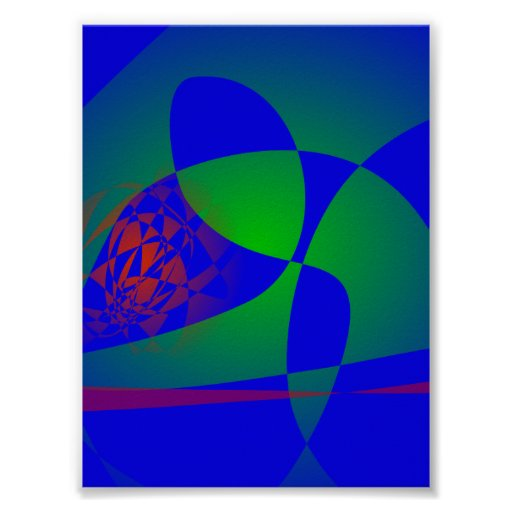 Verde translúcido en fondo azul posters