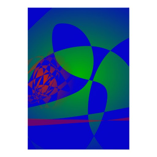 Verde translúcido en fondo azul poster