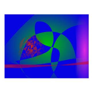 Verde translúcido en fondo azul postal