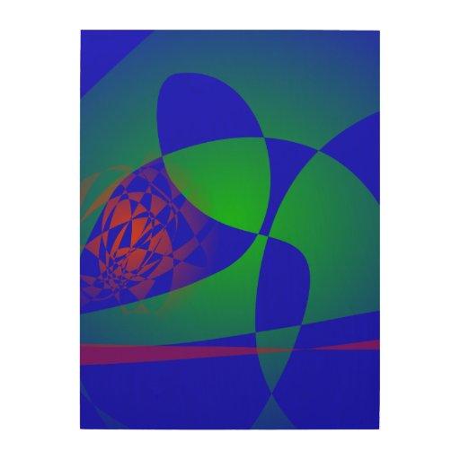 Verde translúcido en fondo azul cuadro de madera