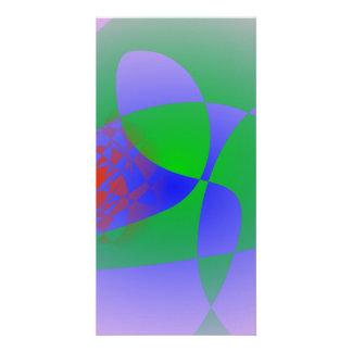 Verde transparente en fondo de la lavanda tarjeta personal con foto