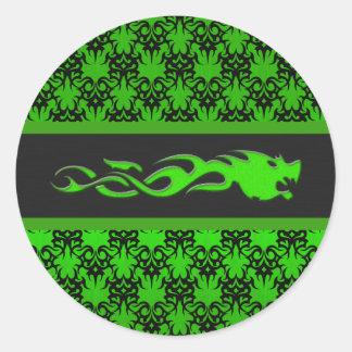 Verde tribal 2 etiqueta