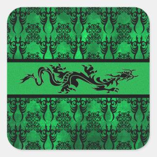 Verde tribal 3 calcomanias cuadradas