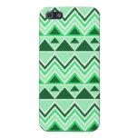 Verde tribal azteca de los triángulos de las monta iPhone 5 protectores