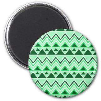 Verde tribal azteca de los triángulos de las monta imán redondo 5 cm