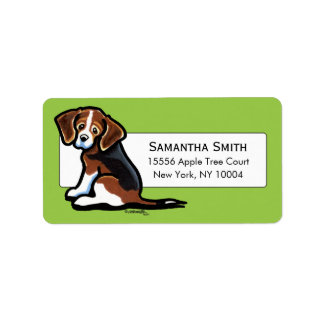 Verde tricolor del estudio del beagle etiquetas de dirección