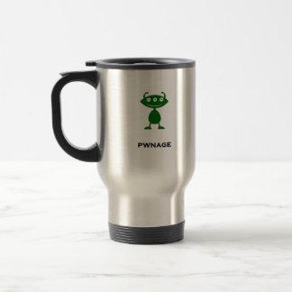 Verde triple del pwnage del ojo tazas de café