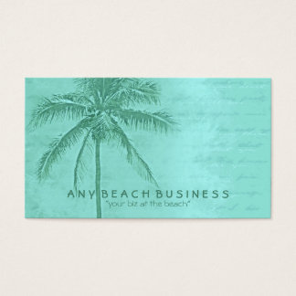 Verde tropical de la aguamarina de la palmera tarjetas de visita