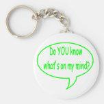 ¿Verde USTED sabe cuál está en mi mente? Burbuja d Llavero Personalizado
