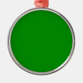 Verde verdadero adorno redondo plateado