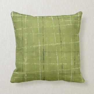 Verde verde oliva, blanco, y modelo de la tela cojín