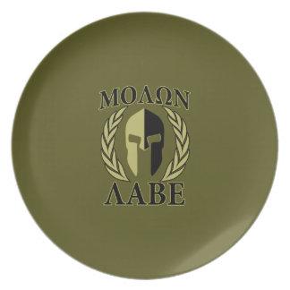 Verde verde oliva de los laureles espartanos de la plato de cena