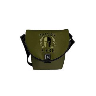 Verde verde oliva de los laureles espartanos del bolsa de mensajería