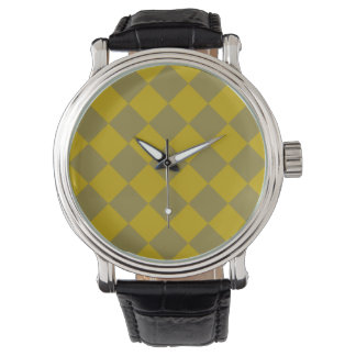 Verde verde oliva de Patterns_Gold del diamante Relojes De Pulsera