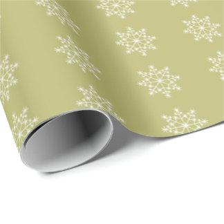 Verde verde oliva del diseño de Navidad del copo Papel De Regalo
