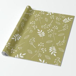 Verde verde oliva del verdor floral botánico de papel de regalo