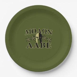 Verde verde oliva espartano de 5 estrellas de platos de papel
