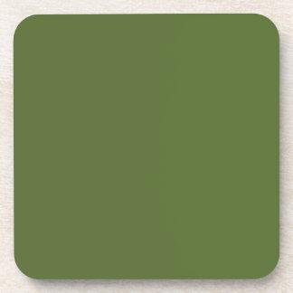 Verde verde oliva oscuro del color sólido posavasos de bebidas