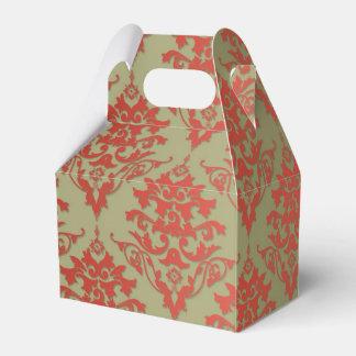 Verde verde oliva y damasco floral rojo cajas para detalles de boda