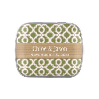 Verde verde oliva y favor marroquí del boda del jarrones de dulces