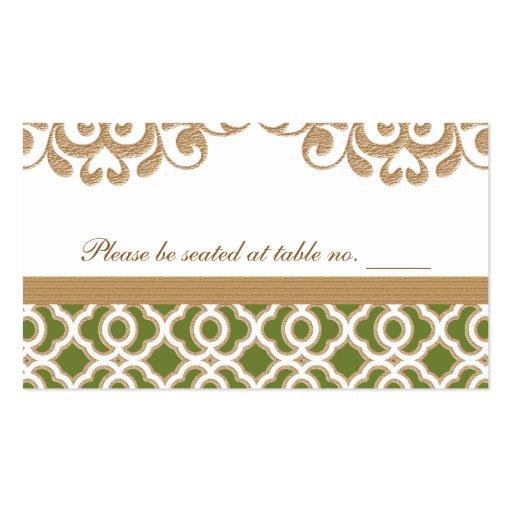 Verde verde oliva y lugar marroquí de la tabla del tarjetas de negocios