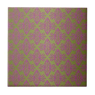 Verde verde oliva y modelo rosado del damasco azulejo cuadrado pequeño