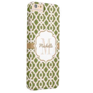 Verde verde oliva y oro Quatrefoil del monograma Funda De iPhone 6 Plus Barely There
