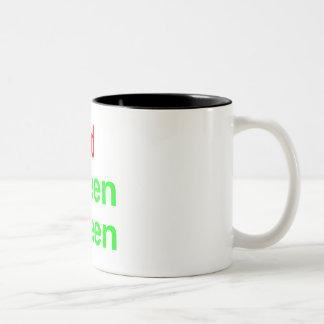 Verde verde rojo taza de café