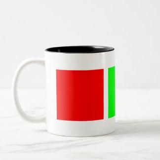 Verde verde rojo taza de café de dos colores